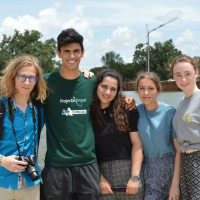 High school volunteers take a group photo at Angkor Wat in Cambodia